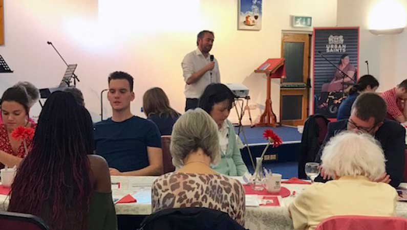 Richard Langmead praying for the Urban Saints' vision during the recent Urban Saints' Supporters event in Bournemouth