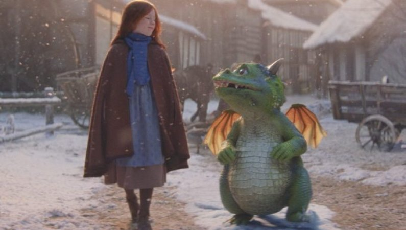 Edgar the dragon and his kindly friend Ava as featured in the 2019 John Lewis Christmas advert. They are walking along together through their snow-covered town